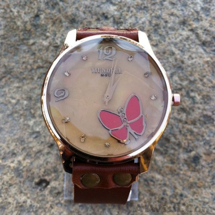 Retro Cowhide Leather Butterfly Diamond Black Brown Student Watch