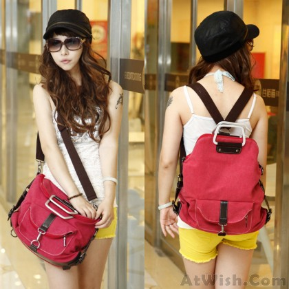 Fashion Multi-function Canvas Shoulder Bag & Backpack