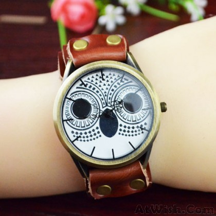 Retro Owl Rivet Handmade Leather Women Watch