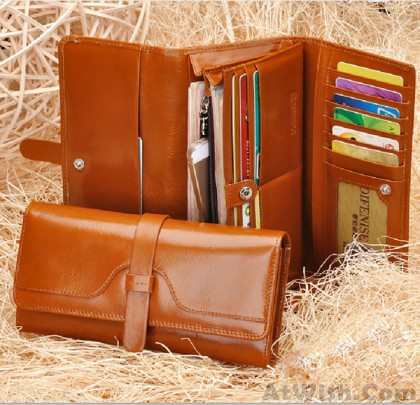 High Quality Leather Long Wallet Clutch