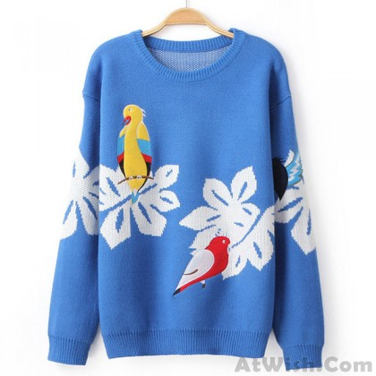 College Style Embroidered Birds Cardigan Sweater Coat