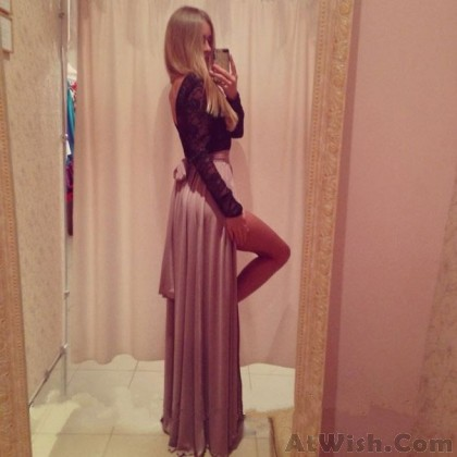 Deep V Side Slit Middle Sleeve Long Dresses
