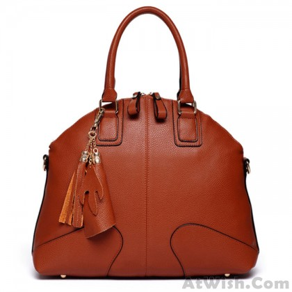 Fashion Brown Shells Leather Tassel Handbags