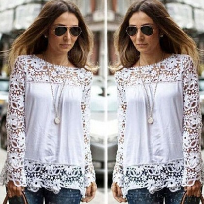 Hollow Lace Long Sleeve Chiffon Blouses Shirts