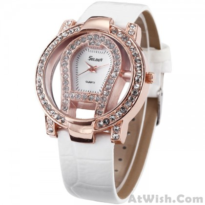 fashion large dial rhinestone trim hollow watch