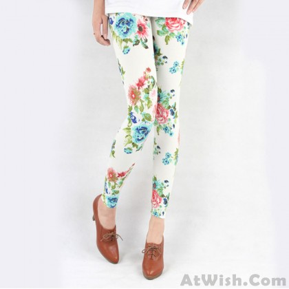 Retro Fresh Floral Print Graffiti Leggings
