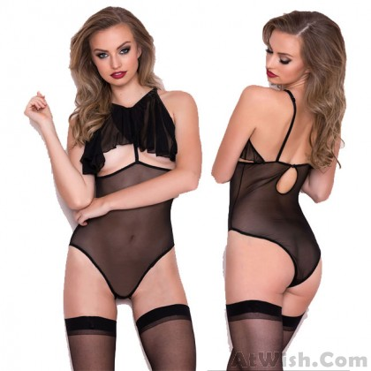 Sexy Mesh Perspective Conjoined Underwear Women Intimate Lingerie