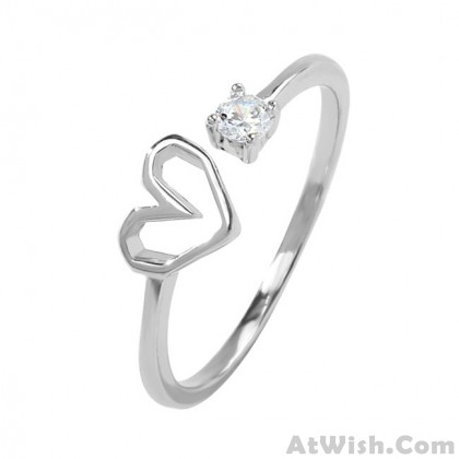 Cute Love Heart Silver Crystal Cat Girl Romantic Open Ring