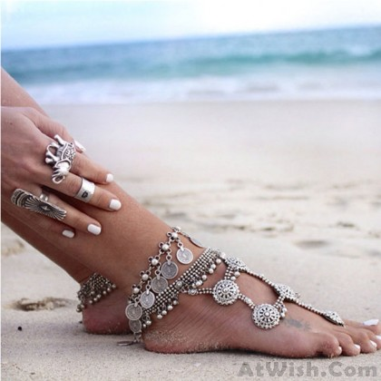 Vintage Metal Tassel Coin Foot Accessory Women Anklet