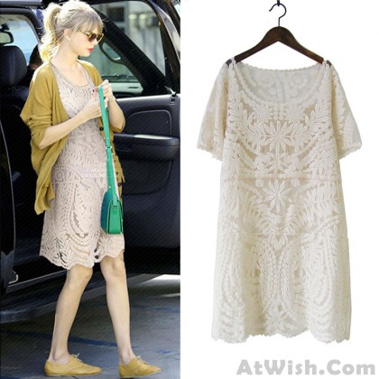 Summer Embroidered Lace Short-sleeved Dress