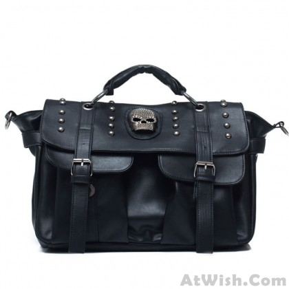 Retro Black Skull Rivets Messenger Bag&Shoulder Bag