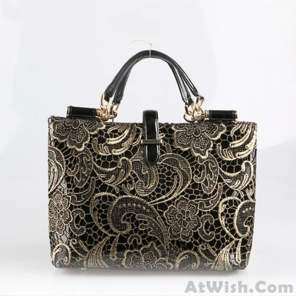 Fashion Plaid Exquisite Embroidery Lace Handbag
