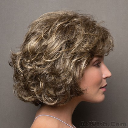 Fashion Middle-aged Lady Mixed Color Hair Wig Short Curly Headgear Hair Wig