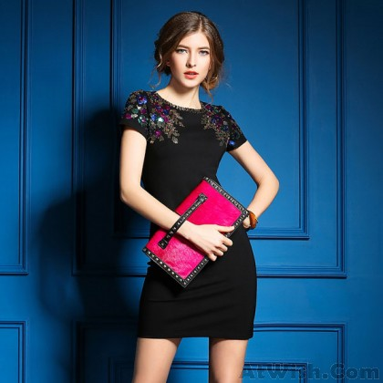 Casual Heavy Beading Colorful Sequined Short-sleeved Dress