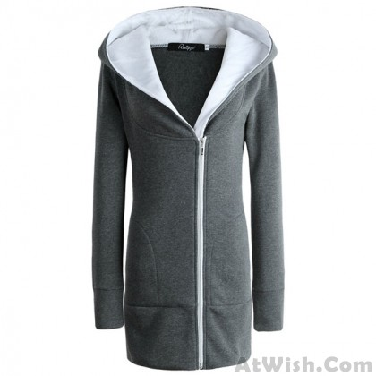 New Winter Long Zipper Warm Hoodie Thicken Cotton-padded Slim Outwear Women's Jacket Coat