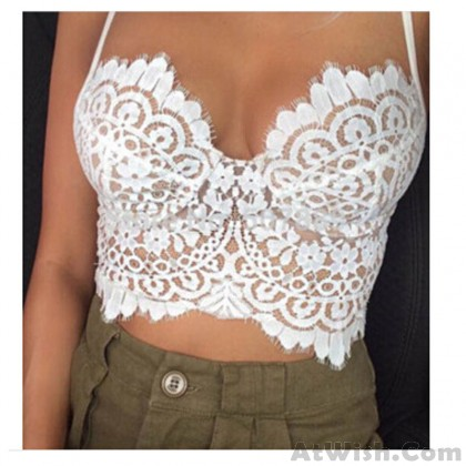 Summer Sexy Low-cut Halter Eyelash Lace Top Vest