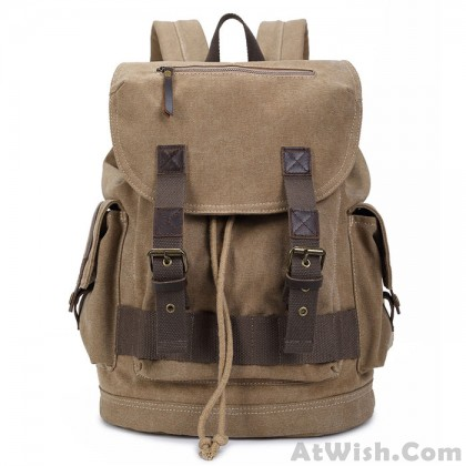 Leisure Solid Canvas Large Capacity Camping Hiking Travel Backpack