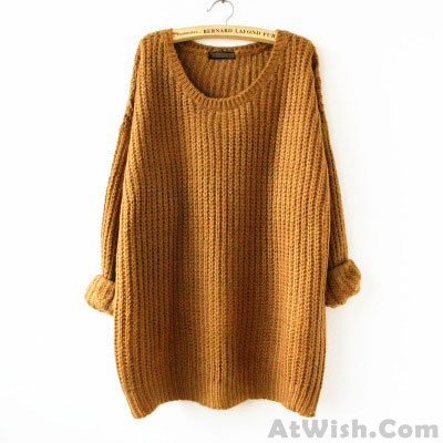 Fashion Variegated Long Loose Wool Round Neck Sweater
