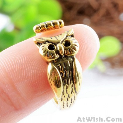 Refined Retro Alloy Carving Owl Original Opening Ring
