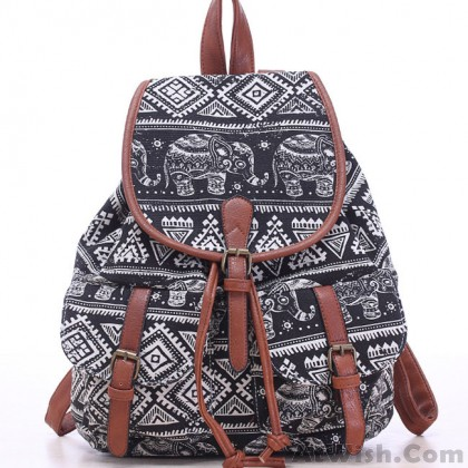 Leisure Elephant School Rucksack For Girl Totem Canvas Bag College Backpack