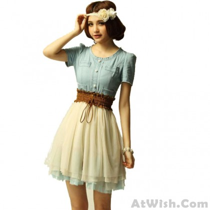 Sweet Retro Denim Gauze Lady Skirt Dress