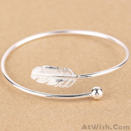 Fresh Women Silver Bangle Feather Simple Open Bracelet