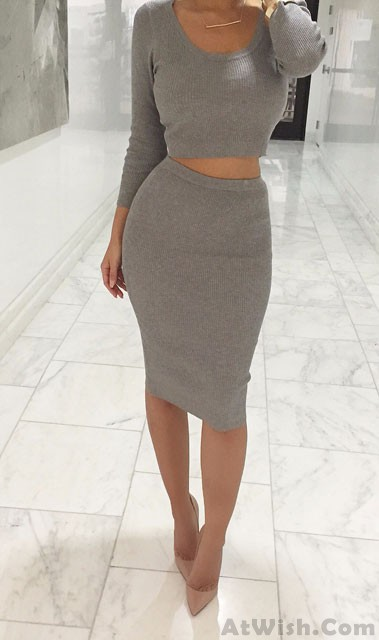 Fashion Outfit Two Pieces Bodycon Tight Dress