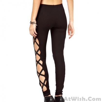 Fashion Girl's Side high Slit Cross Lines Lace-up Ninth Skinny Leggings