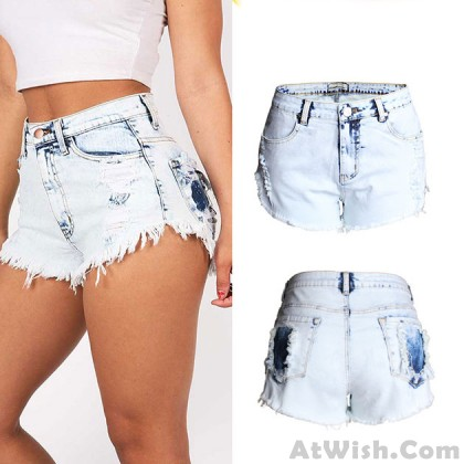 New High Waist Hole Jeans Washed Flash Denim Shorts Plus Size Wonmen Shorts