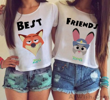 Cartoon Best Friends Printing Paragraph Short T-shirt
