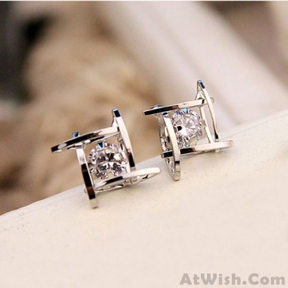 Fresh Unique Tic Tac Toe Triangle Zircon Women Earrings Studs