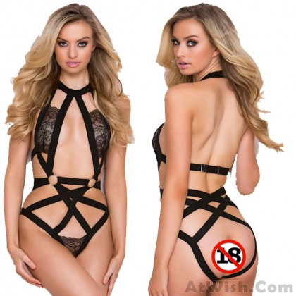 Sexy Conjoined Black Lace Cross Flower Women Intimate Lingerie