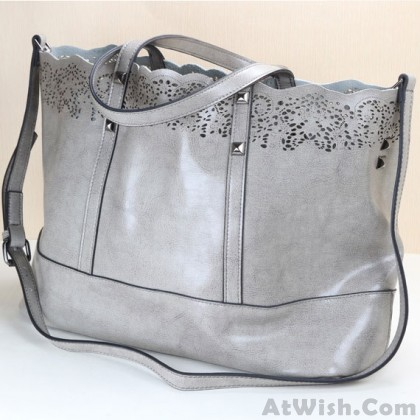Fashion Hollow Out Carved Leather Handbag Large Bag