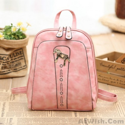 Fresh Pink Candy Color British Rucksack Pony Leather Backpack