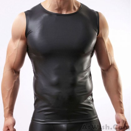 Sexy Shirt Lingerie For Man Black Patent Leather Vest Tight-fitting Cool Man's Intimate Lingerie
