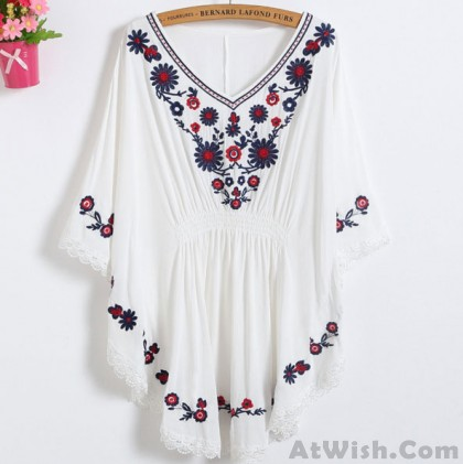 Women's Batwing Sleeves Flowers Embroidery Waist Tight Lace Details Top