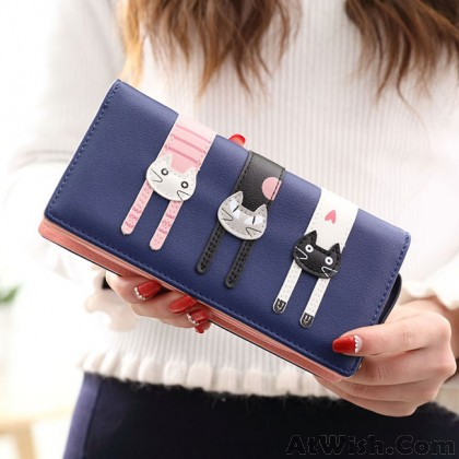 Cute Long Cat Zipper Wallet Lady Iphone Purse Kitten Clutch Bag