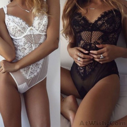 Sexy Siamese Skirt Women See Through Straps Lace Lingerie