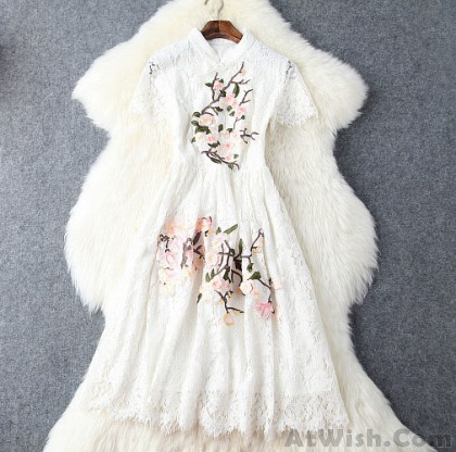 Unique Handmade Plum  Embroidered Collar Lace Dress Slim Party Dress