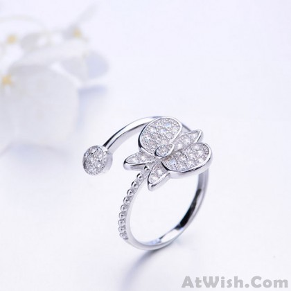Unique Design Silver Butterfly Diamond Adjustable Open Ring