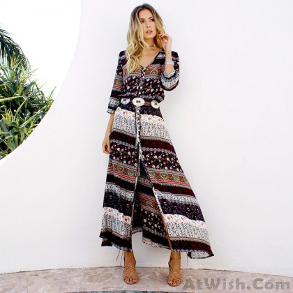 Fashion Half Sleeve Bohemian Style Printing Single-breasted Full-length Dress