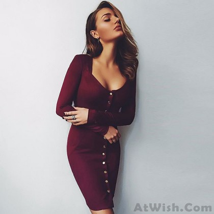 Sexy Slim Breasted Wine-red Long Sleeves Dress Backing Skirt