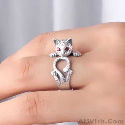 Vintage Red Eyes Lucky Cat Open 925 Silver Ring