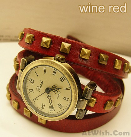 Studded Leather Retro bronze Bracelet Watch-wine red