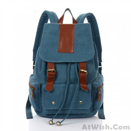 Retro Simple Large Rucksack Canvas Travel Leather School Backpack