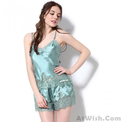 Sexy Hollow Out Lace Straps Suspenders Silk Pajamas