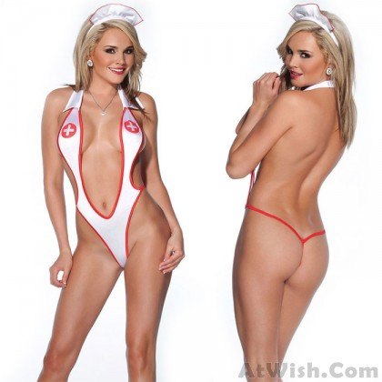 Sexy Nurse Cosplay Simple Uniform Temptation Conjoined Women's Lingerie