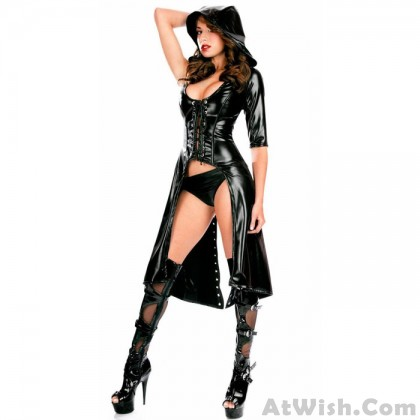 Sexy Black Patent Leather Windbreaker Cloak Eye-catching Stringing SM Queen Outfit Robe For Women Lingerie