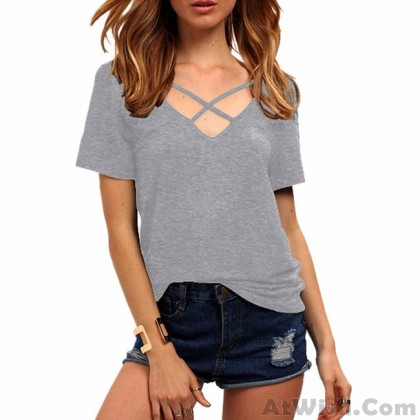 Sexy V Neck Loose Bandage Cross Pure Color Women's T-Shirt
