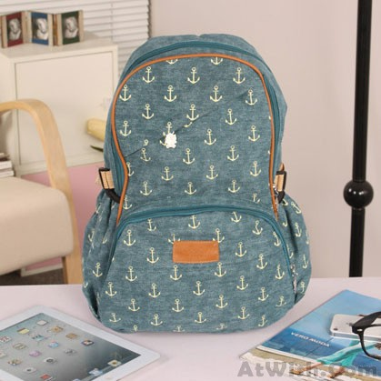 Lovely Leisure Anchor Print Canvas Backpack